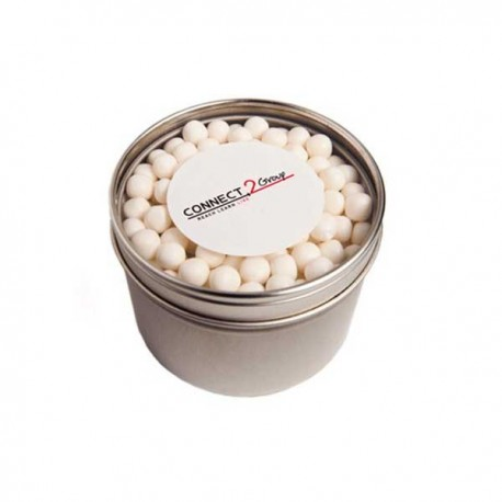 Small Round Acrylic Window Tin Fillled with Mints or Musks 170G