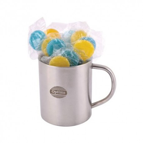 Corporate Colour Lolliops in Double Wall Stainless Steel Barrel Mug