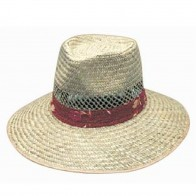 Natural Straw Hat with Green Under – S-M-L-XL