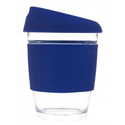Navy 340ml Reusable Glass Karma Kup with Silicone Band and Lid