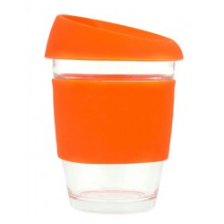 Orange 340ml Reusable Glass Karma Kup with Silicone Band and Lid