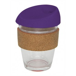 Purple 340ml Reusable Glass Karma Kup with Cork Band and Silicone Lid
