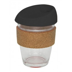 Black 340ml Reusable Glass Karma Kup with Cork Band and Silicone Lid