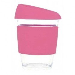 Pink 340ml Reusable Glass Karma Kup with Silicone Band and Lid
