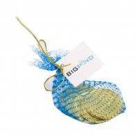 Chocolate Coins in Mesh Bag with Gold Elastic Ribbon Tied in A Bow X6