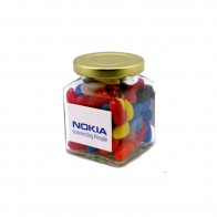 Jelly Beans in Glass Square Jar 170G (Mixed Colours or Corporate Colours)