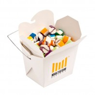 White Cardboard Noodle Box Filled with Personalised Rock Candy 100G