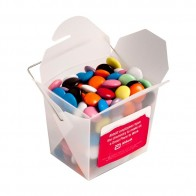 Frosted Pp Noodle Box Filled with Choc Beans (Smartie Look Alike) 100G (Corporate Colours)