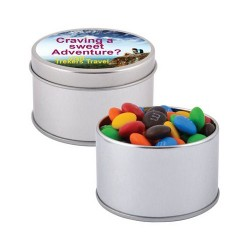 M&M's in Silver Round Tins