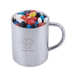 Assorted Colour Mini Jelly Beans In Double Wall Stainless Steel Barrel Mug